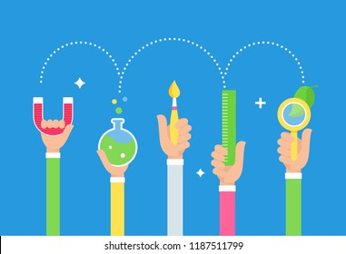 Steam Education Approach. Arts and Science. Students Holding Tools in Hands. Vector Design.