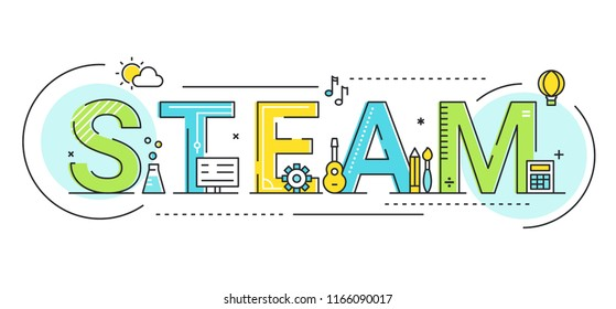Steam Education Approach and Movement Concept Vector Illustration.