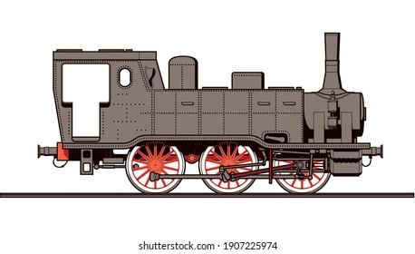 steam engine old antique steam train locomotive vector illustration