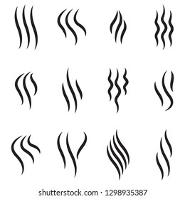 Steam icon set isolated on white background. Collection of steam icon for design template, smell sign, wave logo and smoke symbol. Creative abstract concept, vector illustration