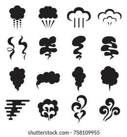 Steam icons. Collection of black symbols isolated on a white background. Vector illustration