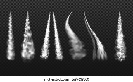 Steam jets and smoke trails with white clouds, vector realistic set on transparent background. Airplane contrail or spaceship launch smoke trail tracks in curve and spiral shape, smoky flow texture