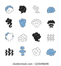 Steam line symbols. Smell of cooking food vapour smoke outline vector icon set