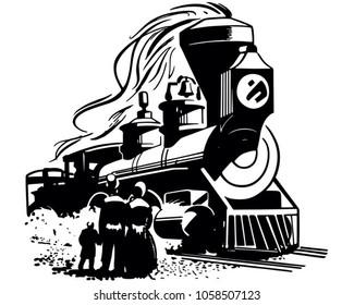 Steam Locomotive Arriving - Retro Clip Art Illustration