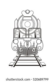 steam locomotive, front view, black and white
