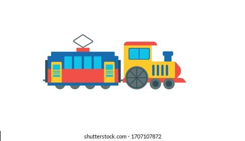 Steam locomotive on the railroad. Vector flat illustration