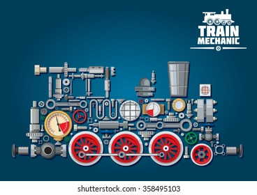 Steam locomotive train made up of mechanical parts as steam engine, power transmission system, gearbox, cogwheels, colorful pressure gauges, valves, gears with red wheels, cylinders, pipe, headlights