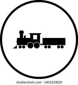 steam locomotive with wagon cart symbol