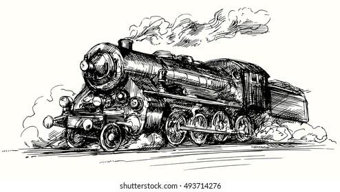Steam locomotive.Hand drawn illustration.