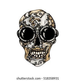 Steam punk color mechanical skull on  white background