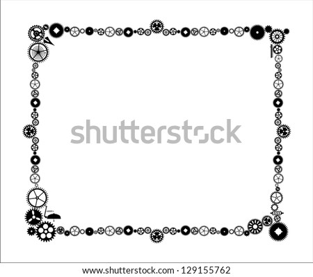 Steam Punk Frame Made Cogs Stock Vector (Royalty Free) 129155762 ...