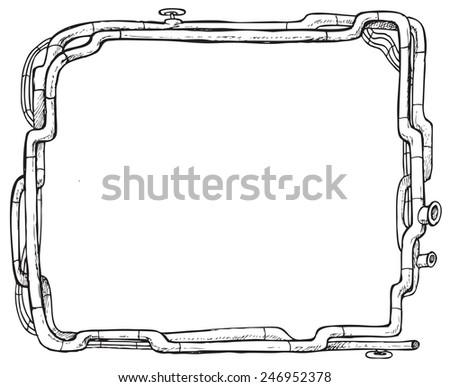 Steam Punk Frame Pipeline Vector Illustration Stock Vector (Royalty ...
