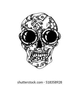 Steam punk monochrome mechanical skull on  white background