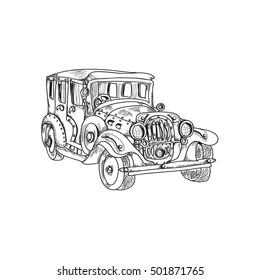 Steam punk retro car on  white background ink sketch