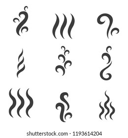 Steam or smoke icons. Collection symbols isolated on a white background. Vector flat illustration.
