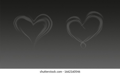 Steam smoke realistic set, Smoke heart, isolated vector illustration