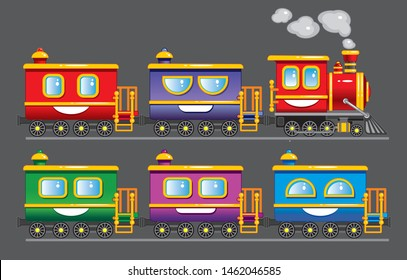 Steam train. Children's train with cars. Vector. Eps.