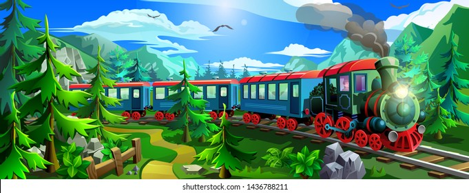 Steam train rides in the woods among the green trees and mountains. Vector locomotive.
