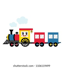 Steam Train transportation cartoon character side view isolated on white background vector illustration.