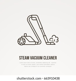 Steam vacuum cleaner flat line icon, logo. Vector illustration of household appliance for housework equipment shop