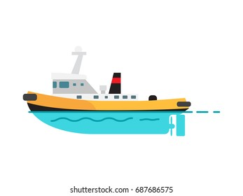 Steamboat vector illustration isolated on white. Fishing vessel, speed boat marine nautical type of transport in flat style, motorboat icon
