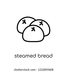 steamed bread icon. Trendy modern flat linear vector steamed bread icon on white background from thin line Chinese Food collection, outline vector illustration