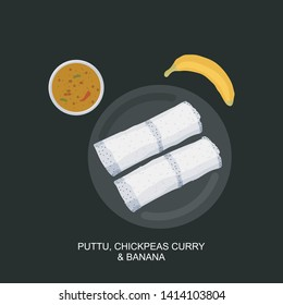 Steamed rice cake it is called White Puttu with Chickpeas curry and Banana, Kerala or South Indian breakfast special