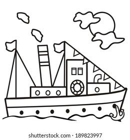 steamer - coloring book, vector icon