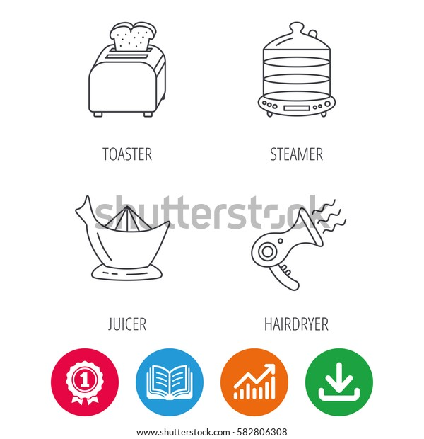 Steamer, hairdryer and toaster icons. Juicer linear signs. Award medal, growth chart and opened book web icons. Download arrow. Vector