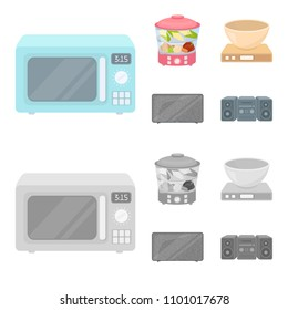 Steamer, microwave oven, scales, lcd tv.Household set collection icons in cartoon,monochrome style vector symbol stock illustration web.