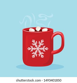 Steaming hot chocolate with marshmallows in red cup with white snowflake. Hot winter drink on blue background. Vector illustration of sweet cocoa in cartoon flat style