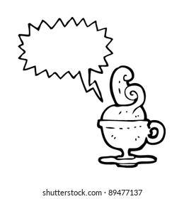steaming hot cup of tea cartoon