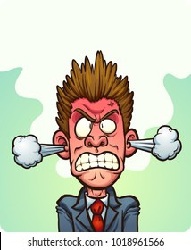 Steaming mad man with vapor coming out of his ears. Vector clip art illustration with simple gradients. Some elements on separate layers.