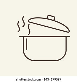 Steaming saucepan line icon. Pot, pan, open lid, hot. Cooking concept. Vector illustration can be used for topics like kitchen, kitchenware, stew, cookery