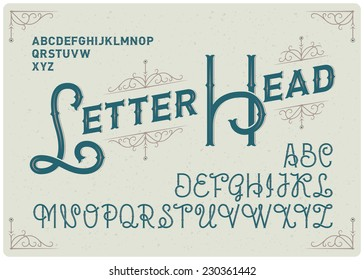 Steampunk alphabet with decorative ornate