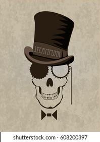 Steampunk art skull. Template steampunk design for card.