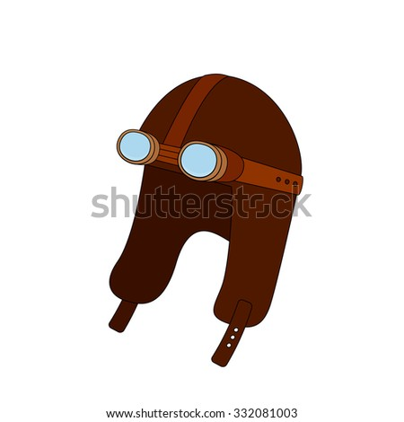 steampunk aviator hat goggles doodle style stock vector royalty