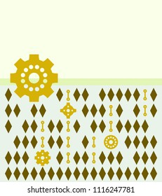 Steampunk. Background of gears and rhombuses. Vector.