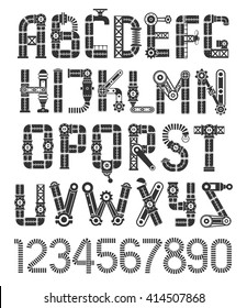 Steampunk black font. Vintage industrial alphabet.
