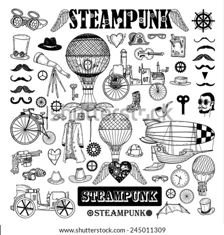 Steampunk collection hand drawn
