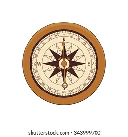Steampunk compass in doodle style