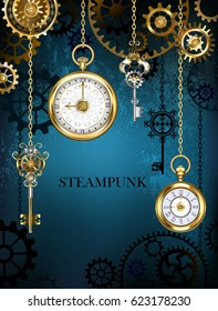 Steampunk design with gold antique clocks, keys and brass gears on turquoise background.