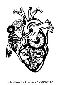 Steampunk Human Heart with Gears and Clock Pieces Vector