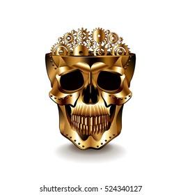 Steampunk human skull isolated photo-realistic vector illustration