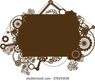 Steampunk Illustration Featuring the Silhouette of a Frame Surrounded by Cogs and Gears