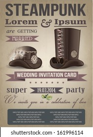 Steampunk invitation card, vintage, wedding