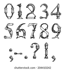 steampunk letter  made of different technical pieces: pipes, blocks, screws, etc. Stylized as engraving. Numbers and punctuation marks