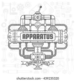 Steampunk machinery engineer robotic composition. Fantastic device.  Isolated vector illustration. Text, background, shadows, fill and stroke on separate layers - full editable.