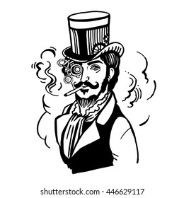 Steampunk man in top hat and glasses with the beard and moustache and a smoking cigarette, retro, vector illustration, vintage sketch hand drawn