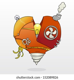 Steampunk mechanic heart with light bulb inside and a drill